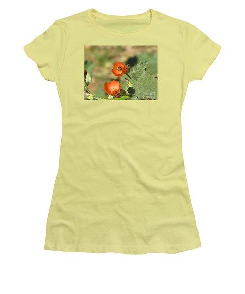 Desert Globemallow Blooms 227 Women's T-Shirt (Junior Cut) by En-Chuen Soo