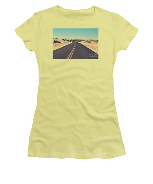 Women's T-Shirt (Junior Cut) featuring the photograph Desert Road by MGL Meiklejohn Graphics Licensing