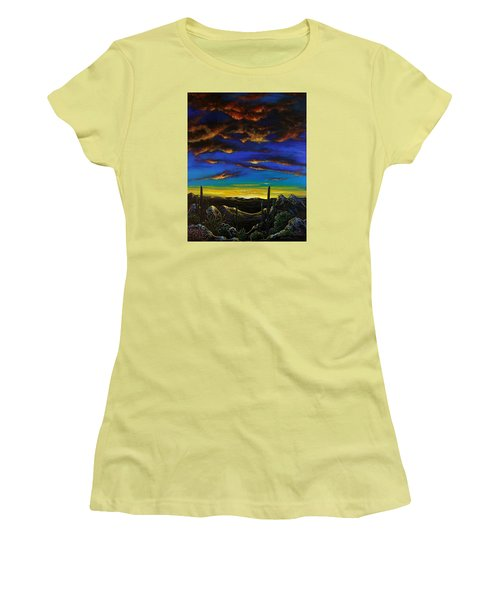 Women's T-Shirt (Junior Cut) featuring the painting Desert View by Lance Headlee