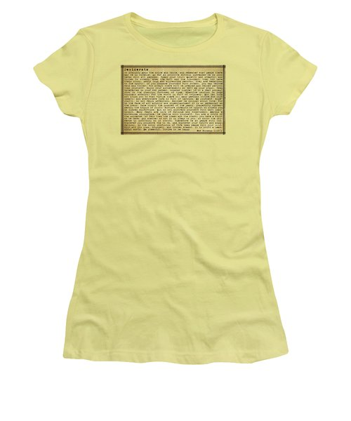 Desiderata By Max Ehrmann Women's T-Shirt (Junior Cut) by Olga Hamilton