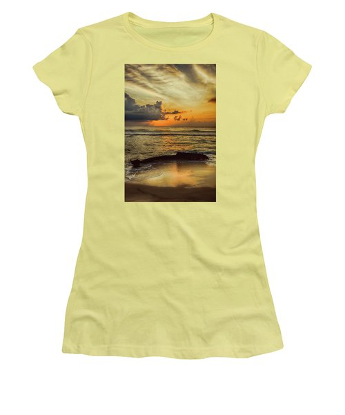 Destruction Of An Outer Banks Shipwreck Women's T-Shirt (Junior Cut) by Dan Carmichael