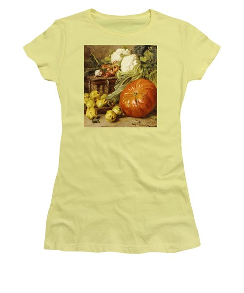Detail Of A Still Life With A Basket, Pears, Onions, Cauliflowers, Cabbages, Garlic And A Pumpkin Women's T-Shirt (Athletic Fit)