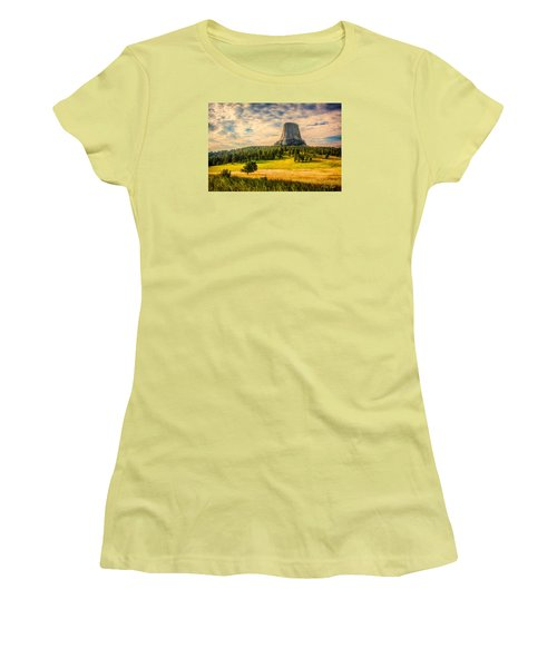 Women's T-Shirt (Junior Cut) featuring the photograph Devil's Tower - The Other Side by Rikk Flohr