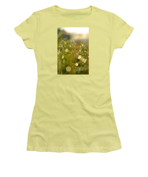 Women's T-Shirt (Junior Cut) featuring the photograph Dew Droplets by Nikki McInnes