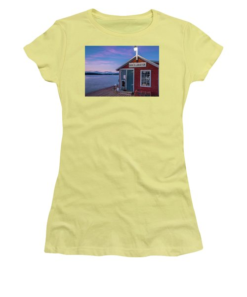 Women's T-Shirt (Junior Cut) featuring the photograph Dicks Lobsters - Crabs Shack In Maine by Ranjay Mitra
