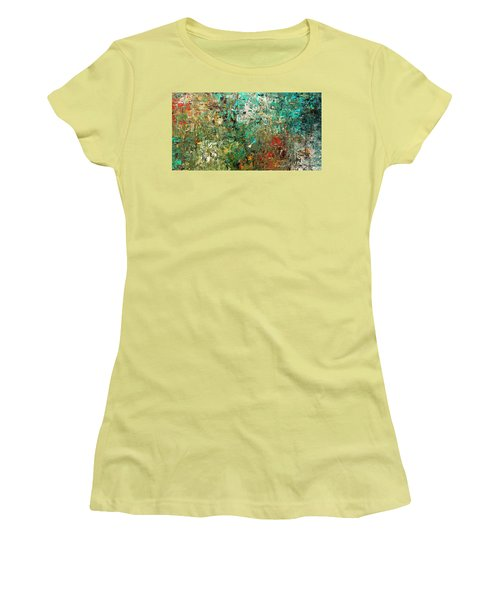 Women's T-Shirt (Junior Cut) featuring the painting Discovery - Abstract Art by Carmen Guedez