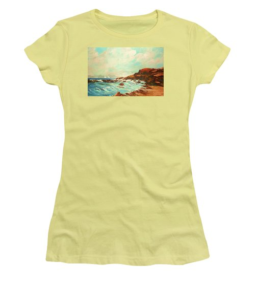 Distant Sails Of The Cove Women's T-Shirt (Junior Cut) by Al Brown