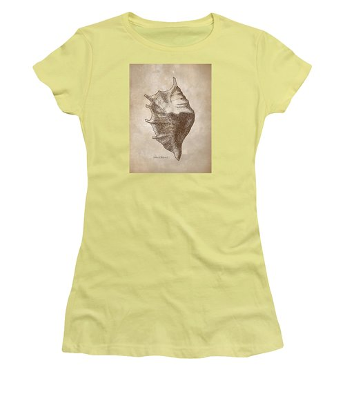 Women's T-Shirt (Junior Cut) featuring the drawing Distressed Antique Nautical Seashell 1  by Karen Whitworth