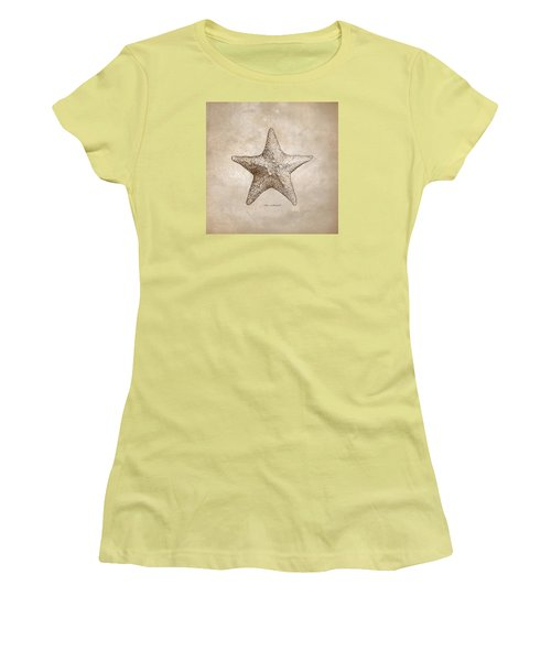 Women's T-Shirt (Junior Cut) featuring the drawing Distressed Antique Nautical Starfish by Karen Whitworth