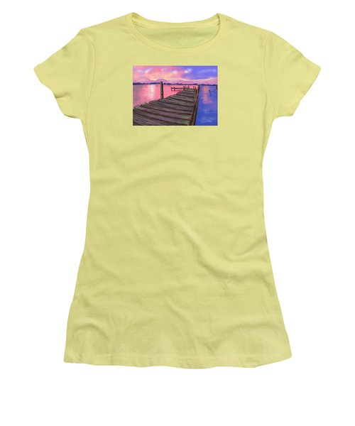 Dock At Sunset Women's T-Shirt (Junior Cut) by Diana Riukas