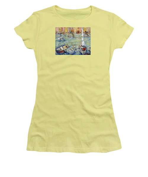 Docking In Cassis Women's T-Shirt (Junior Cut) by Sharon Furner
