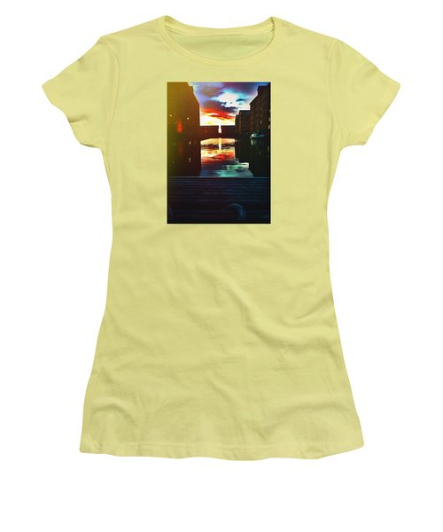 Dockland Sun Down Women's T-Shirt (Junior Cut) by Trystan Oldfield
