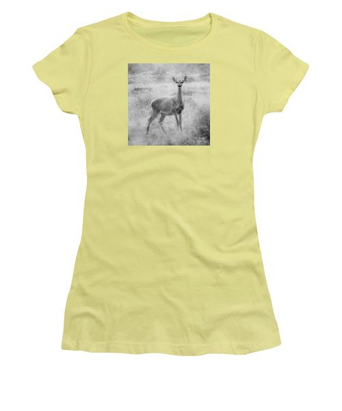 Women's T-Shirt (Junior Cut) featuring the photograph Doe A Deer A Female Deer In Mono by Linsey Williams