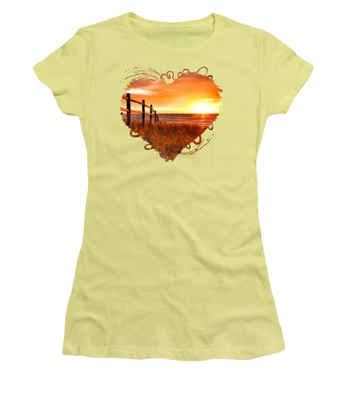 Door County Europe Bay Fence Sunrise Women's T-Shirt (Athletic Fit)