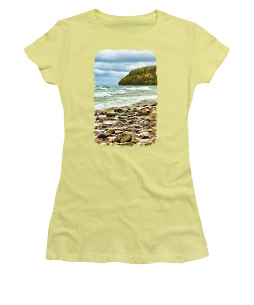 Women's T-Shirt (Athletic Fit) featuring the painting Door County Porcupine Bay Waves by Christopher Arndt