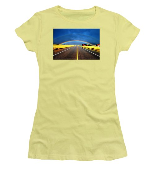Double Rainbow Over A Road Women's T-Shirt (Junior Cut)