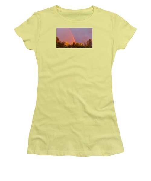 Double Rainbow Over Bow Women's T-Shirt (Junior Cut) by Karen Molenaar Terrell