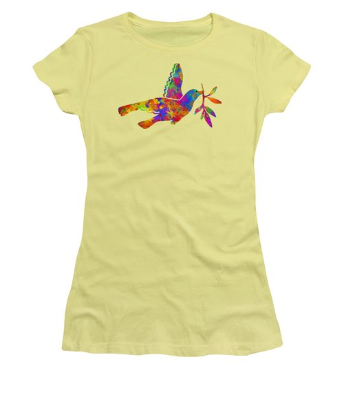 Dove With Olive Branch Women's T-Shirt (Junior Cut) by Christina Rollo
