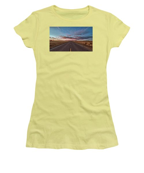 Women's T-Shirt (Athletic Fit) featuring the photograph Down The Road by Monte Stevens