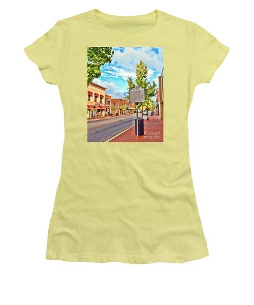 Downtown Blacksburg With Historical Marker Women's T-Shirt (Junior Cut) by Kerri Farley