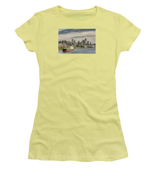 Downtown Seattle Women's T-Shirt (Junior Cut) by Lewis Mann