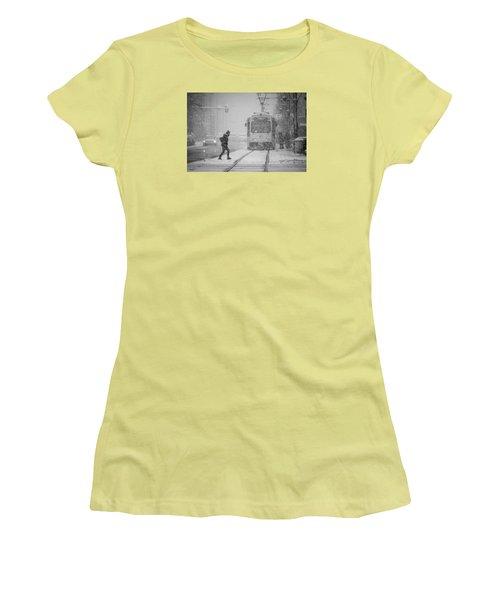Downtown Snow Storm Women's T-Shirt (Athletic Fit)