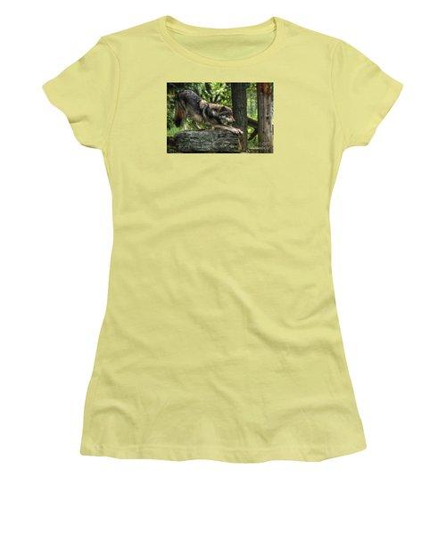 Downward Facing Wolf Women's T-Shirt (Junior Cut) by William Fields