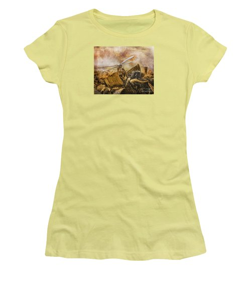 Women's T-Shirt (Junior Cut) featuring the digital art Dragonfly Dreams by Rhonda Strickland