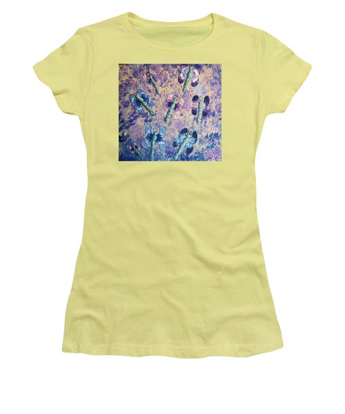 Women's T-Shirt (Junior Cut) featuring the painting Dragons In Indigo And Lavender by Megan Walsh