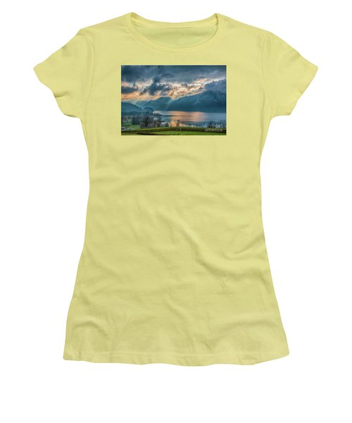 Dramatic Sunset Over Mondsee, Upper Austria Women's T-Shirt (Junior Cut) by Jivko Nakev