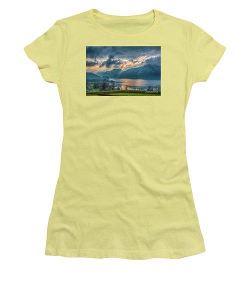Dramatic Sunset Over Mondsee, Upper Austria Women's T-Shirt (Junior Cut) by Jivko Nakev