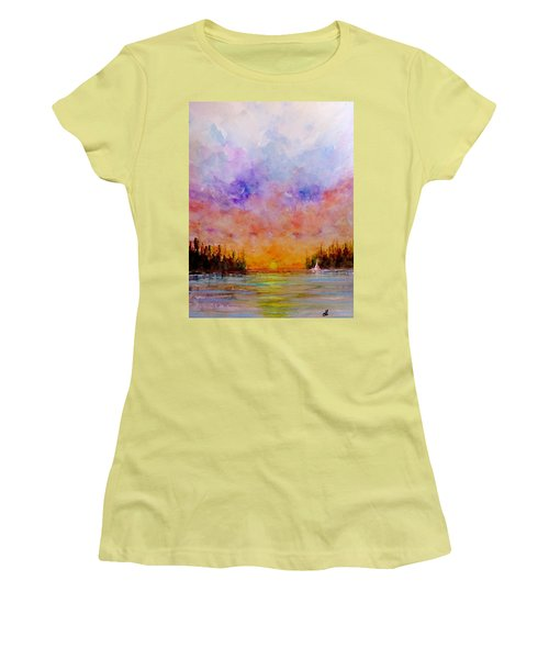 Women's T-Shirt (Junior Cut) featuring the painting Dreamscape.. by Cristina Mihailescu