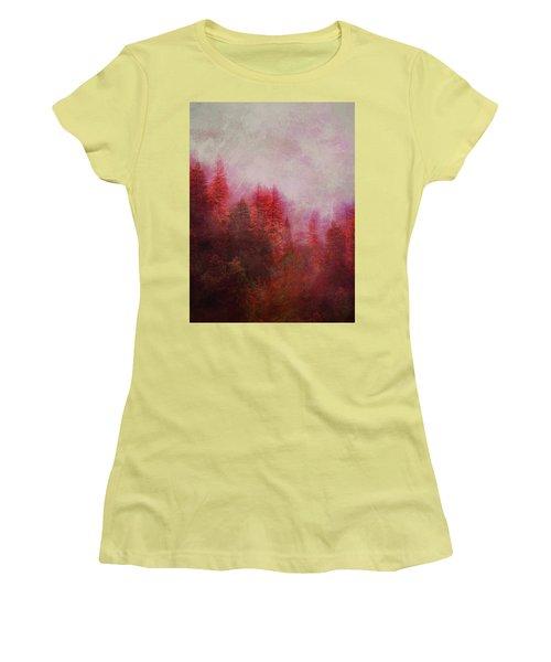 Women's T-Shirt (Junior Cut) featuring the digital art Dreamy Autumn Forest by Klara Acel