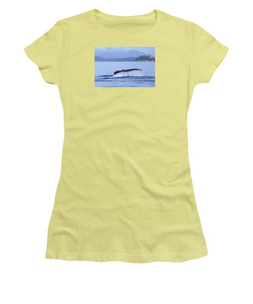 Dripping Whale Fluke Women's T-Shirt (Junior Cut) by Michele Cornelius