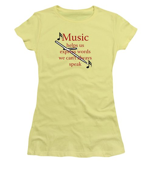 Drum Music Helps Us Express Words Women's T-Shirt (Junior Cut) by M K  Miller