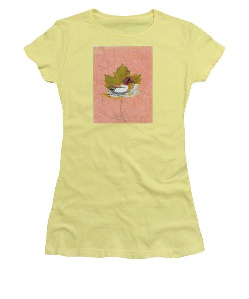 Duck On Pond Women's T-Shirt (Junior Cut) by Ralph Root