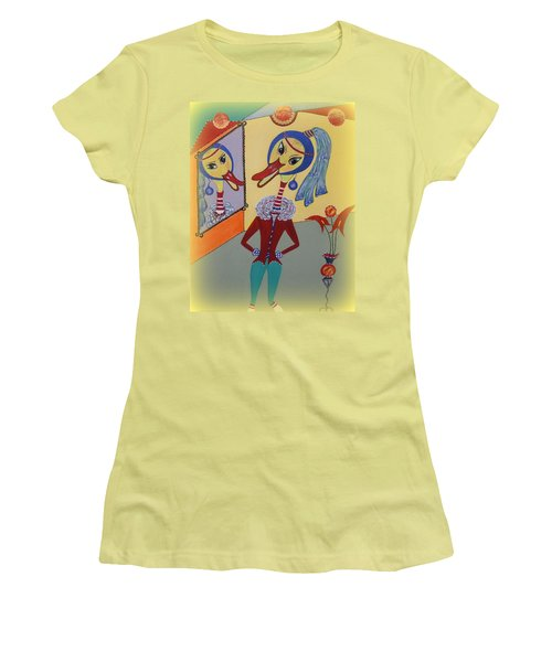 Duck With A Sapphire-pearl Earring Women's T-Shirt (Junior Cut) by Marie Schwarzer