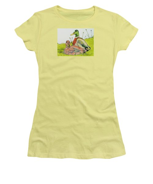 Women's T-Shirt (Junior Cut) featuring the painting Ducks In Love by Rand Swift