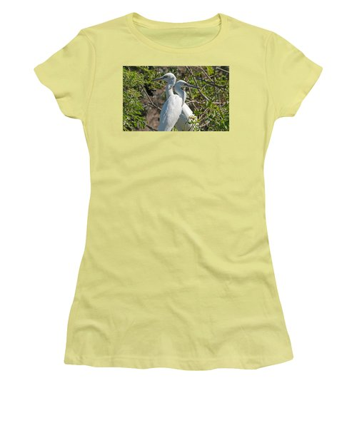 Dueling Egrets Women's T-Shirt (Junior Cut) by Kenneth Albin