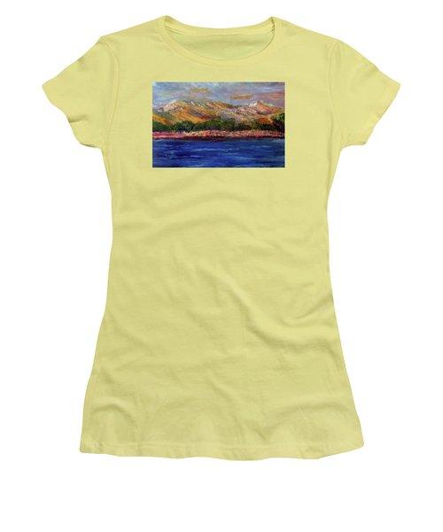 Women's T-Shirt (Junior Cut) featuring the painting Dunes At Pilgrim Lake by Michael Helfen