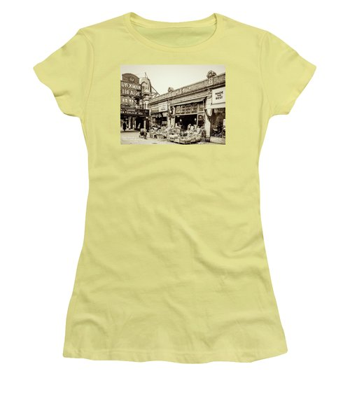 Women's T-Shirt (Athletic Fit) featuring the photograph Dyckman Theater, 1926 by Cole Thompson