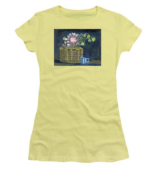 Women's T-Shirt (Junior Cut) featuring the painting Dying Flowers by Michael Daniels