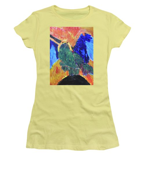 Women's T-Shirt (Athletic Fit) featuring the painting Standing Outside The Fire by Donald J Ryker III
