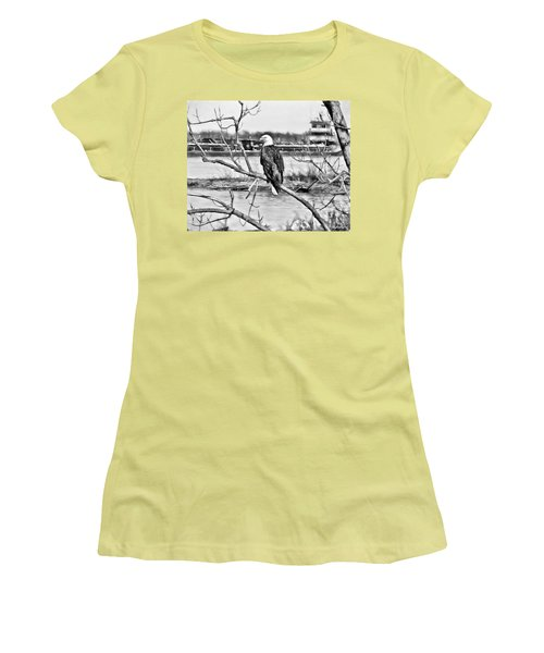 Eagle On The Illinois River Women's T-Shirt (Junior Cut) by John Freidenberg