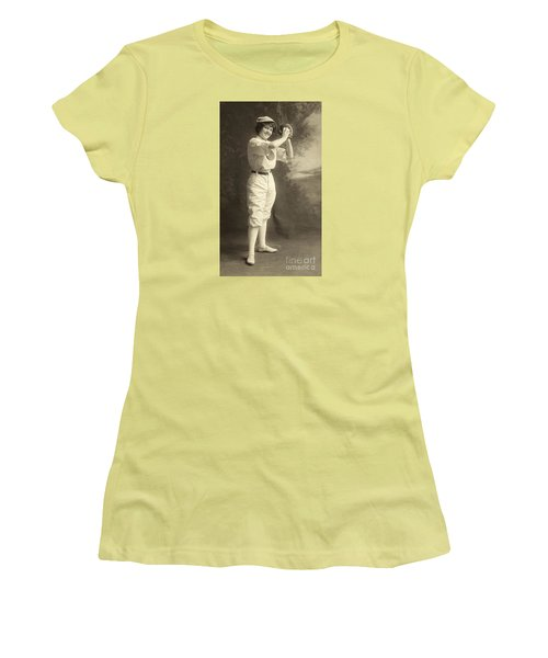 Early Portrait Of A Woman Baseball Player Women's T-Shirt (Athletic Fit)
