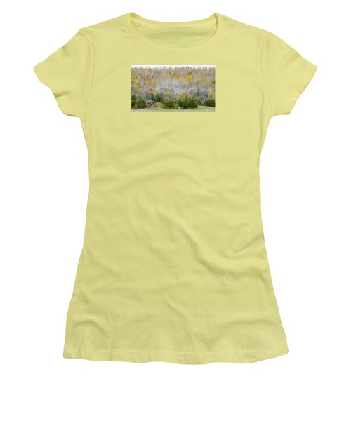 Women's T-Shirt (Athletic Fit) featuring the photograph Early Snow Fall by Wanda Krack