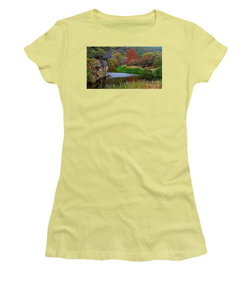 East Trail Pond At Lost Maples Women's T-Shirt (Athletic Fit)