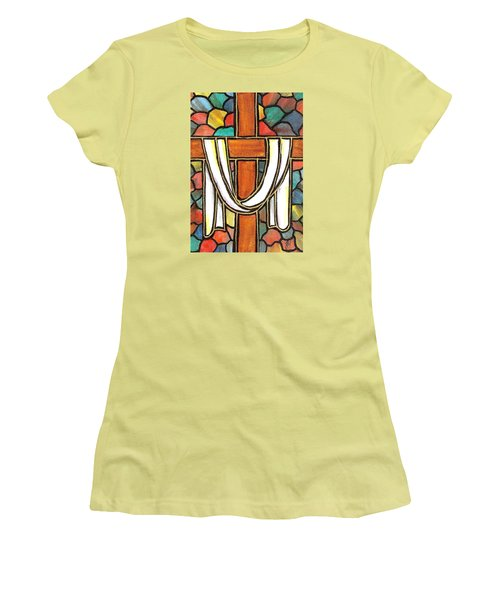 Women's T-Shirt (Junior Cut) featuring the painting Easter Cross 6 by Jim Harris