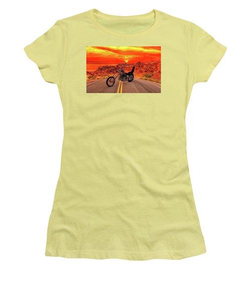 Women's T-Shirt (Junior Cut) featuring the photograph Easy Rider Chopper by Louis Ferreira