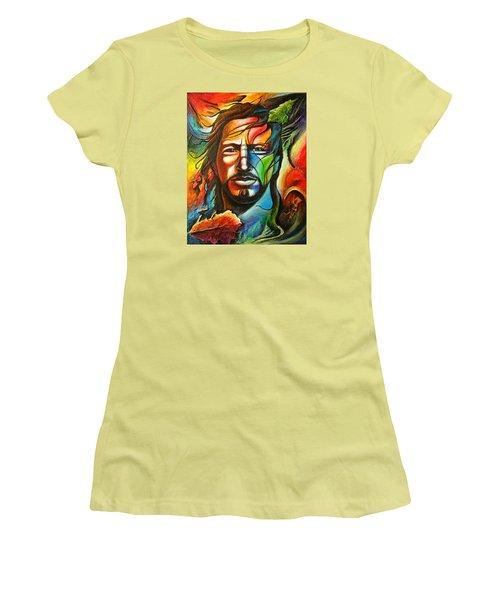 Eddie Vedder Women's T-Shirt (Junior Cut) by Robert Stokley